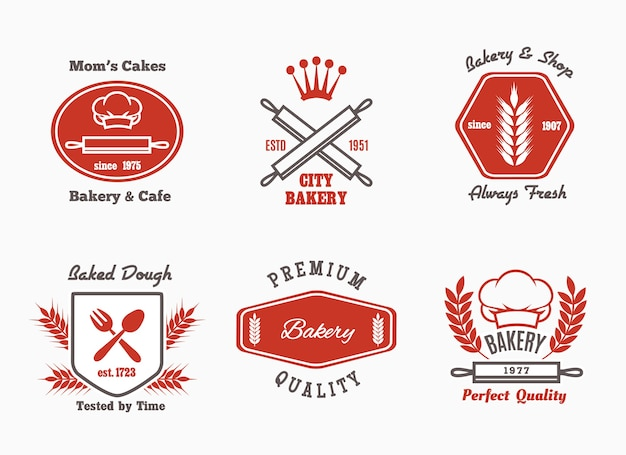 Bakery cafe bistro logo set.