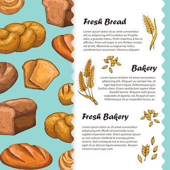 Bakery, cafe menu, flyer template with bread and loaf