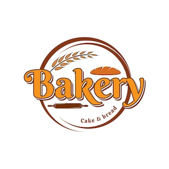 빵집 케이크와 빵 벡터 로고 템플릿