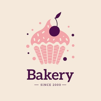 Bakery cake logo with cupcake