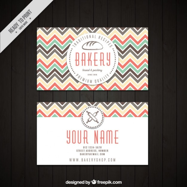 Bakery card with colored zig-zag lines