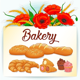 Bakery card with poppies and collection of pastries