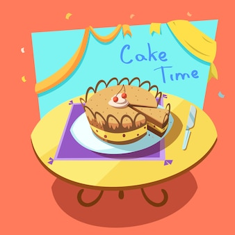 Bakery cartoon with sweet holiday layered cake on table retro style