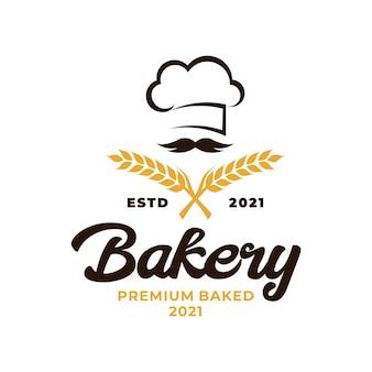 베이커리 요리사 로고. 밀 쌀 농업 로고