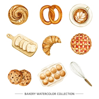 빵집, 흰색 배경에 수채화와 커피 그림.