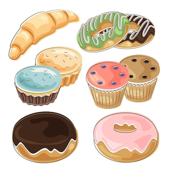 Bakery collection set in hand drawn style