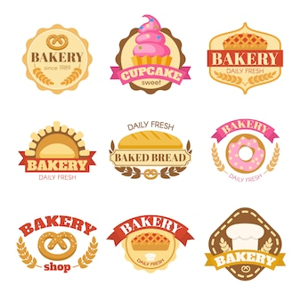 Bakery colorful flat emblems