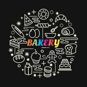 Цветной градиент пекарни с набором иконок линий
