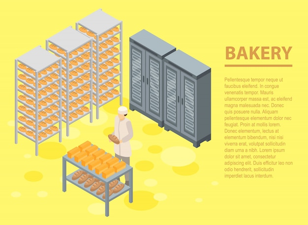 Bakery concept banner, isometric style