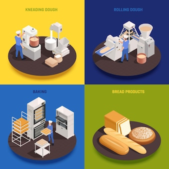 Bakery confectionery production concept 4 isometric compositions with kneading rolling dough machinery ovens baking bread