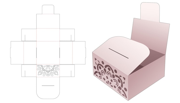 Bakery container box with mandala stencil and flip die cut template