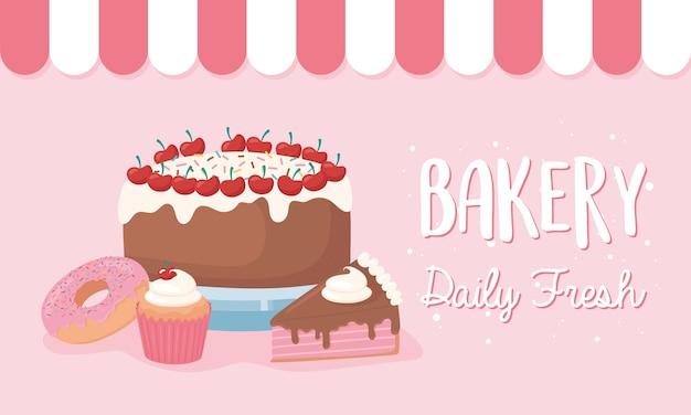 베이커리 매일 신선한 케이크 도넛과 컵 케이크