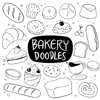 Bakery and dessert hand drawn doodle