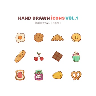 Bakery and dessert hand drawn icons set