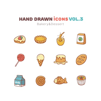 Bakery and dessert hand drawn icons