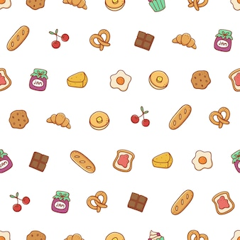 Bakery and dessert hand drawn seamless pattern