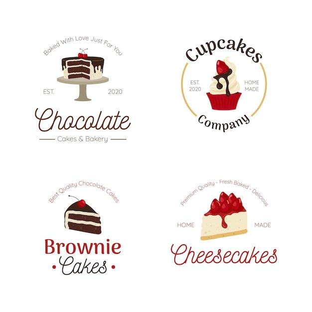 Пекарня десерт логотип набор