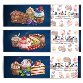 Bakery desserts and sweets banner template. confectionery, pastries, cupcakes with berries.