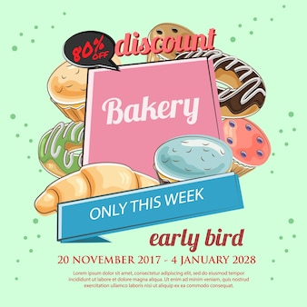 Bakery discount poster template in hand drawn style