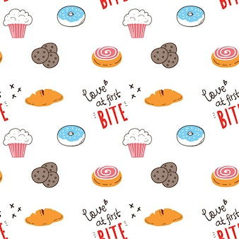 Bakery doodle seamless background