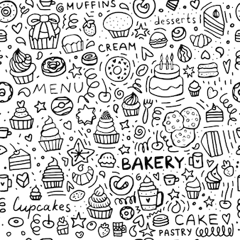 Bakery doodle seamless pattern dessert muffins cupcakes and cakes black and white set of pastry