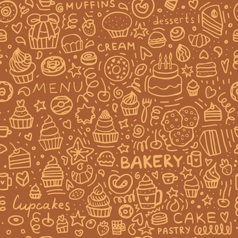 Bakery doodle seamless pattern: dessert muffins, cupcakes, pastries, and cakes. brown set of pastry background.