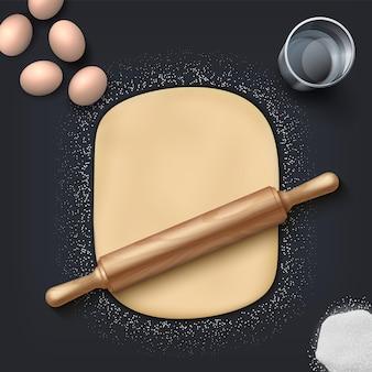 ベーカリー生地。テーブルの上に木製の麺棒が付いたリアルな小麦粉、卵、塩、パン屋の塊。黒の背景にパティスリーとカフェのポスターのベクトルイラスト自家製ベーカリーセット