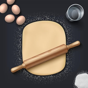 Bakery dough. realistic wheat flour, eggs, salt and bakery mass with wooden rolling pin on the table. vector illustration homemade bakery set for patisserie and cafe poster on black background