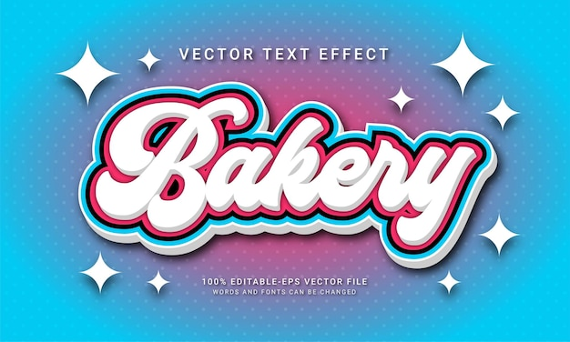 Bakery editable text effect with food store theme
