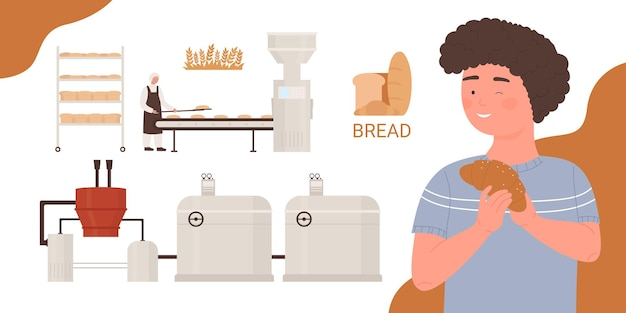 베이킹 빵 베이커 요리사 요리와 베이커리 공장 식품 산업 생산 공정