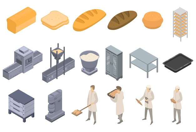 Bakery factory icons set, isometric style