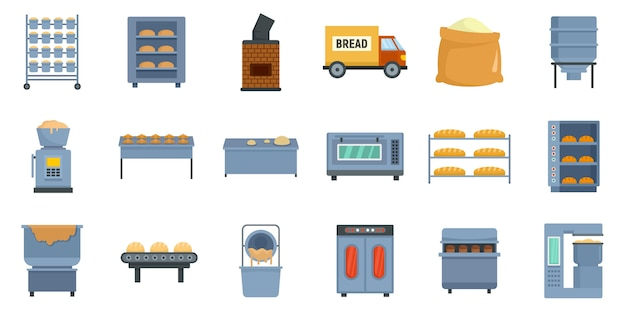 Bakery factory icons set