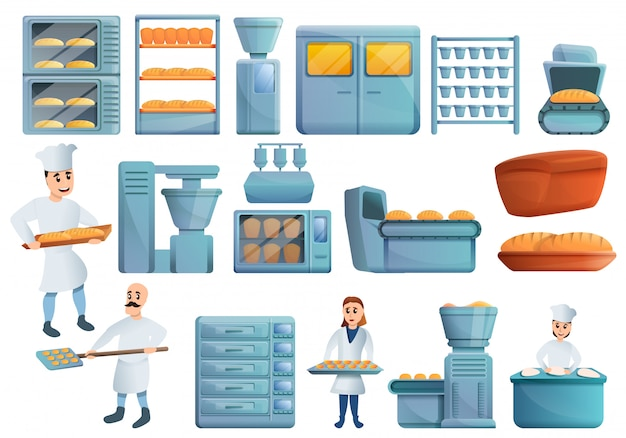 Bakery factory set, cartoon style