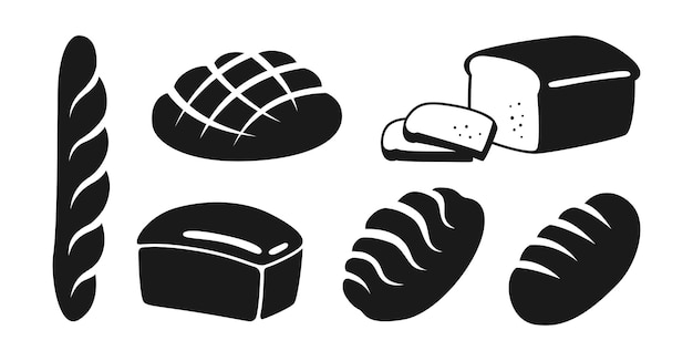 Bakery flat black icon set bread rye, whole grain and wheat loaf bread and french baguette