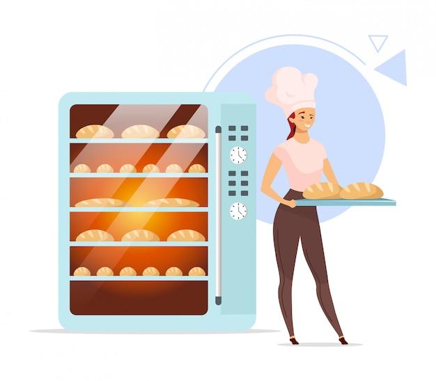 Пекарня плоский цветной иллюстрации. женский пекарь рядом с духовкой. запеченные продукты.