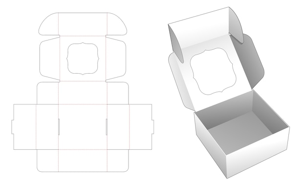 Bakery folding box with window top flip die cut template
