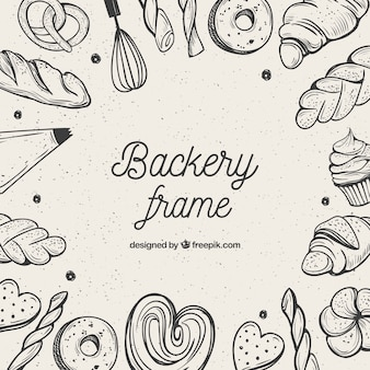 Bakery food frame background