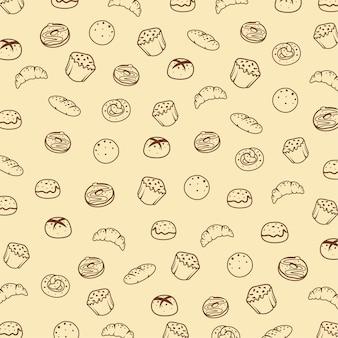 ベーカリー食品のシームレスパターン