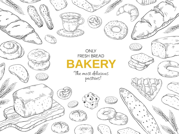 Bakery frame. hand drawn bread and cookies banner  template.