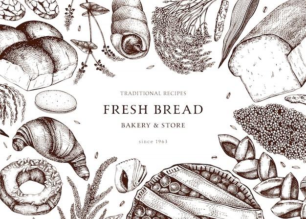 ベーカリーフレーム。ケーキ、パン、ペストリー、クッキー、ブラウニーの手描きで。ベーカリー、パッケージ、メニュー、ラベル、レシピ、食品配達に最適です。ベーカリーやカフェのテンプレート。ヴィンテージのイラスト