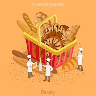 빵집 신선한 바구니 과자 개념입니다. 등거리 변환 아이소 메트릭 웹 사이트 아이콘 그림을 설정합니다.