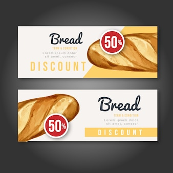 Bakery gift voucher template. bread and bun collection. home made