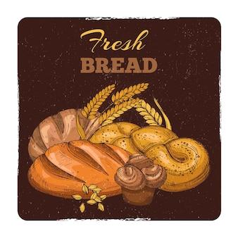 Bakery grunge emblem design. hand sketched fresh bread