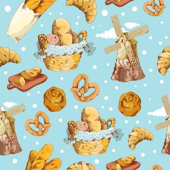 Bakery hand drawn seamless patternŒ
