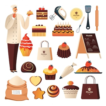 Bakery hop, baker and confectionery or pastry food