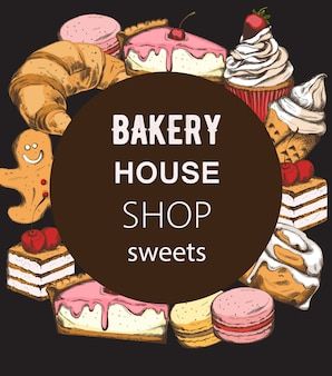 Bakery house shop menu template with various sweets.