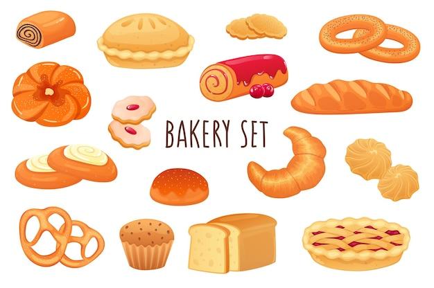 현실적인 3d 디자인으로 설정된 베이커리 아이콘 달콤한 롤 파이 쿠키 머핀 크로와상 번들