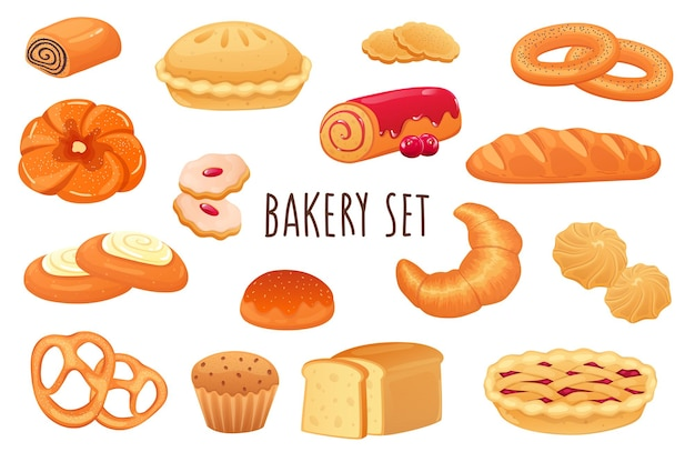 Bakery icon set in realistic 3d design bundle of sweet rolls pie cookies muffins croissant