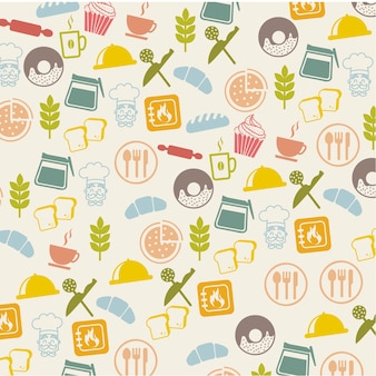 Bakery icons over beige background vector illustration