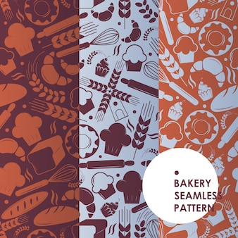 パン屋さんのアイコンのシームレスなパターン、パン屋のシンボル、焼きたてのパン、おいしいケーキ、